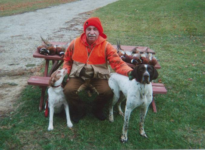 "Photo of Dale, Dale's dog, Rosie, and Bear Creek's ""Chief"" dog"