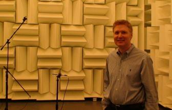 Photo of Dr. Rich Ruhala inside hemi-anechoic chamber at Georgia Tech in 2011.